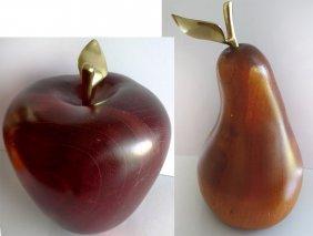 Mid-century Modern Monumental Carved Wood Apple & Pear