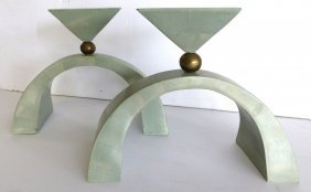 Maitland-smith Tessellated Stone Candle-holders Pair