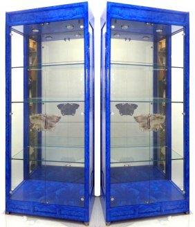 Faux-painted Glass Door Lapis Vitrines - Pair