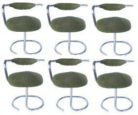 Arrben Mid-century Tubular Chrome Dining Chairs - S/6