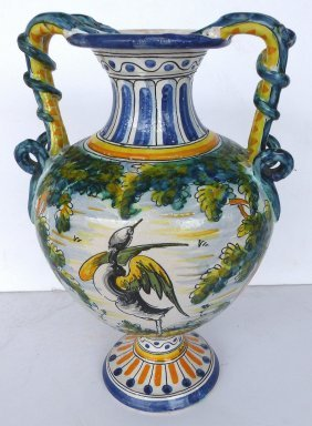Italian Majolica Footed Urn Intertwined Snake Handles