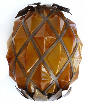 Monumental 70's Kalmar Austria Glass Pineapple Sconce