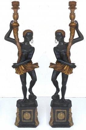 Monumental Bronze Blackamoor Standing Floor Lamps - Pr