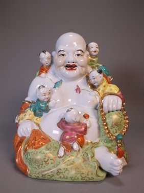 Vintage Happy Buddha With Babies Figurine
