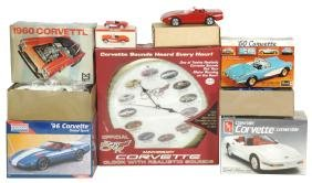 Toy Cars/clock W/boxes (7), Corvettes, Revell 1960 Kit,