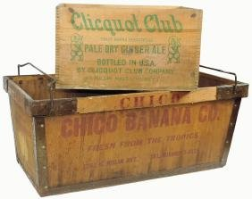 Country Store Boxes (2), Chico Banana Co., Wood W/metal