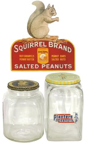 Country Store Peanut Jars & Sign (3), Planters Peanut