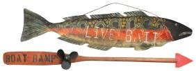 """Fishing Signs (2), """"Live Bait"""" Double-sided,"""