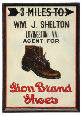 Lion Brand Shoes Dealer Sign, Litho On Embossed M