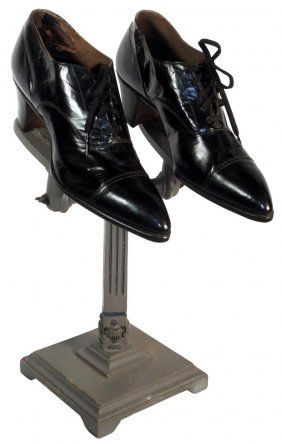 Women's Shoes On Display Stand, Black Leather Lac