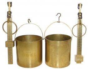 Grain Buckets W/scales (2), Heavy Brass Buckets-o