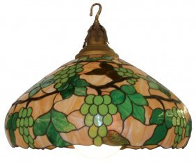 Hanging Lamp, Stained Glass Shade W/grapes & Vine