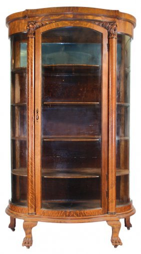 China Cabinet, Quartersawn Oak W/curved Glass Sid