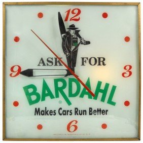 "Bardahl Light-up Clock, ""Makes Cars Run Better"", Sq"