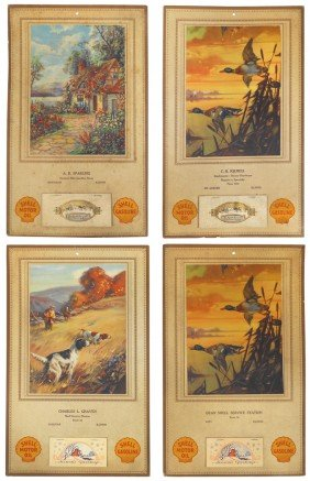 Shell Gasoline 1930 Advertising Calendars (4), From