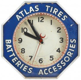 Atlas Tires-Batteries-Accessories Neon Clock, Mfgd