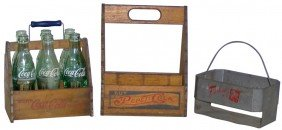 Coca-Cola & Pepsi-Cola Wooden 6-pack Carriers & 7u