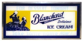 Blanchard Ice Cream Light-up Sign, New Old Stock,