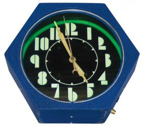 Neon Clock, 6-sided W/black Face, Mfgd By Electric