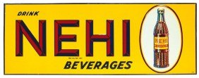 Nehi Beverages Embossed Metal Sign, Self-framed, N