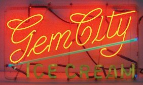 Gem City Ice Cream Neon Sign, 3-color, Mfgd By Hag
