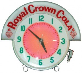 Cleveland Neon Clock W/Royal Crown Cola Marquee, E