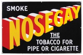 Smoke Nosegay Tobacco Porcelain Sign, Very Colorfu