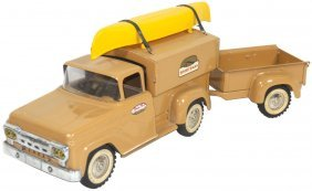 Toy Truck W/boat Trailer, Mfgd By Tonka, Steel, E