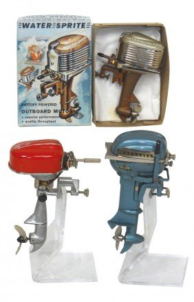 Miniature Outboard Motors (3) & Box; New-old-stoc