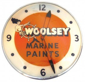 Boat Dealer Advertising Clock, Woolsey Marine Pai