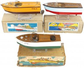 Toy Boats (3), All Wood Speed Boats, One Marked N