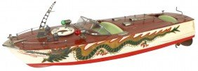 Toy Boat, Japanese ITO Dragon Speed Boat, Wood, B