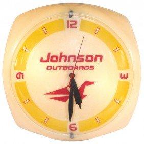 Boat Motor Dealer Advertising Clock, Johnson Outb