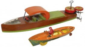 Toy Boats (2), Lindstrom Wood Boat W/Lindstrom Mo