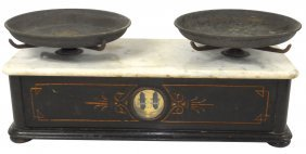 Drug Store Balance Scale W/marble Top, Carved Sid
