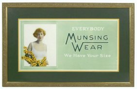 Advertising Sign For Munsing Wear, Pretty Lady In