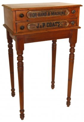 Spool Cabinet, J&P Coats' Spool Cotton Walnut 2-d