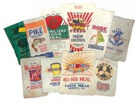 Feed & Seed Sacks (10), Illinois, From Aroma Park,
