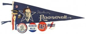 Political Buttons, Pins & Pennant (9), Re-elect