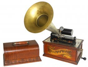 Music, Columbia Graphophone W/horn, At Style, Oak, Exc