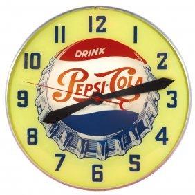 Soda Fountain Clock, Pepsi-cola W/crimped Bottle Cap
