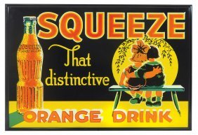 Soda Fountain Sign, Squeeze Orange Drink, Embossed