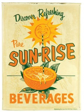 Soda Fountain Sign, Sun-rise Beverages, Bottled By The