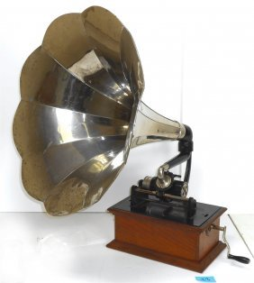 Music, Columbia Phonograph W/rear Mount Chrome Horn,