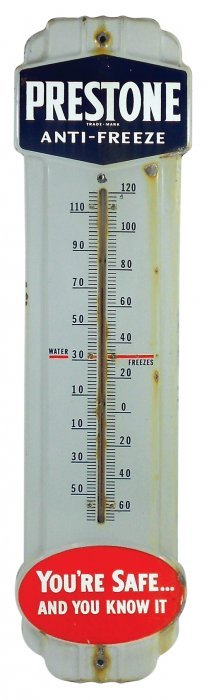 Petroliana Thermometer, Prestone Antifreeze, Porcelain,