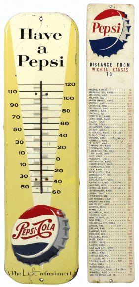 Soda Fountain Thermometer & Sign (2), Pepsi-cola