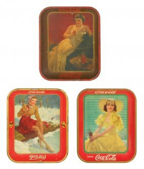 Coca-cola Serving Trays (3), Lady In Yellow Dress,