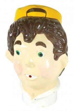 Balloon Blower, Young Boy W/hat, Molded Plastic, Vg+