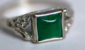 A White Gold And Diamond Jadeite Ring