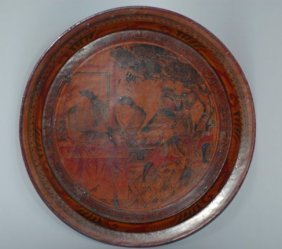 Chinese Lacquer Plate With Gold Painting